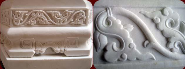 汉白玉石雕蜡台上宝象莲花纹样,卷